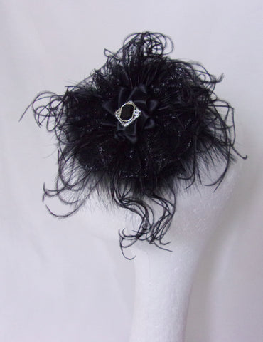 Black Vintage Victorian Gothic Feather Headpiece