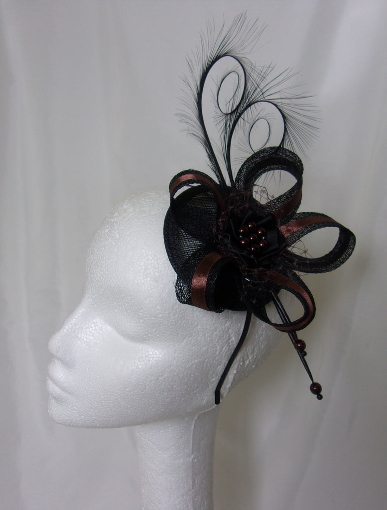 Black & Chocolate Brown Pheasant Curl Feather Sinamay and Pearl Wedding Fascinator Mini Hat Gothic Steampunk Burlesque - Made to Order