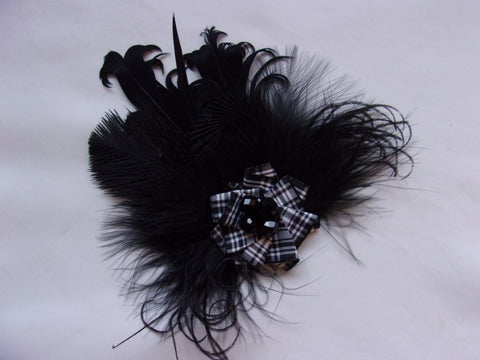Black & White Menzies Tartan Feather and Crystal Scottish Buttonhole Corsage Brooch Pin - Wedding Gothic Highlands Burns Night - Ready Made