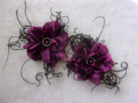 Dark Amethyst Purple & Black Flower Hair Clip Accessory Wedding Pin Up Gothic