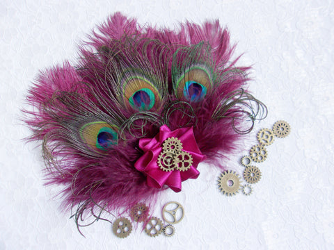 Dark Cranberry Wine Ostrich & Peacock Feather With Brass Watch Cogs Gears Mini Steampunk Fascinator Hair Clip - Made to Order