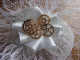 White Steampunk Bridal Hat Veiled Lace Vintage Style Fascinator with Cogs Gears - Wedding Bride - Made to Order rose gold