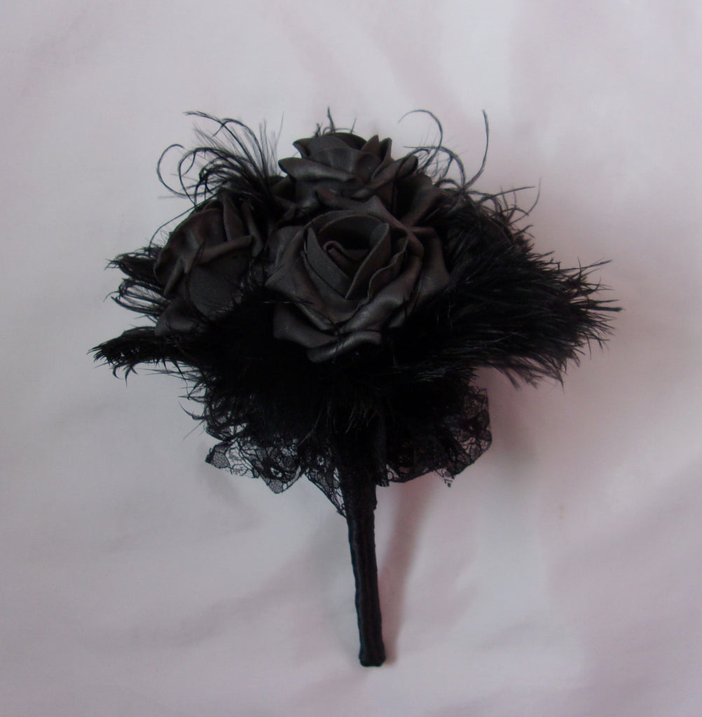 Black Rose Lace and Ostrich Feather Bridal Brides Wedding Gothic Posy Bouquet - Halloween Goth Bride - Made to Order