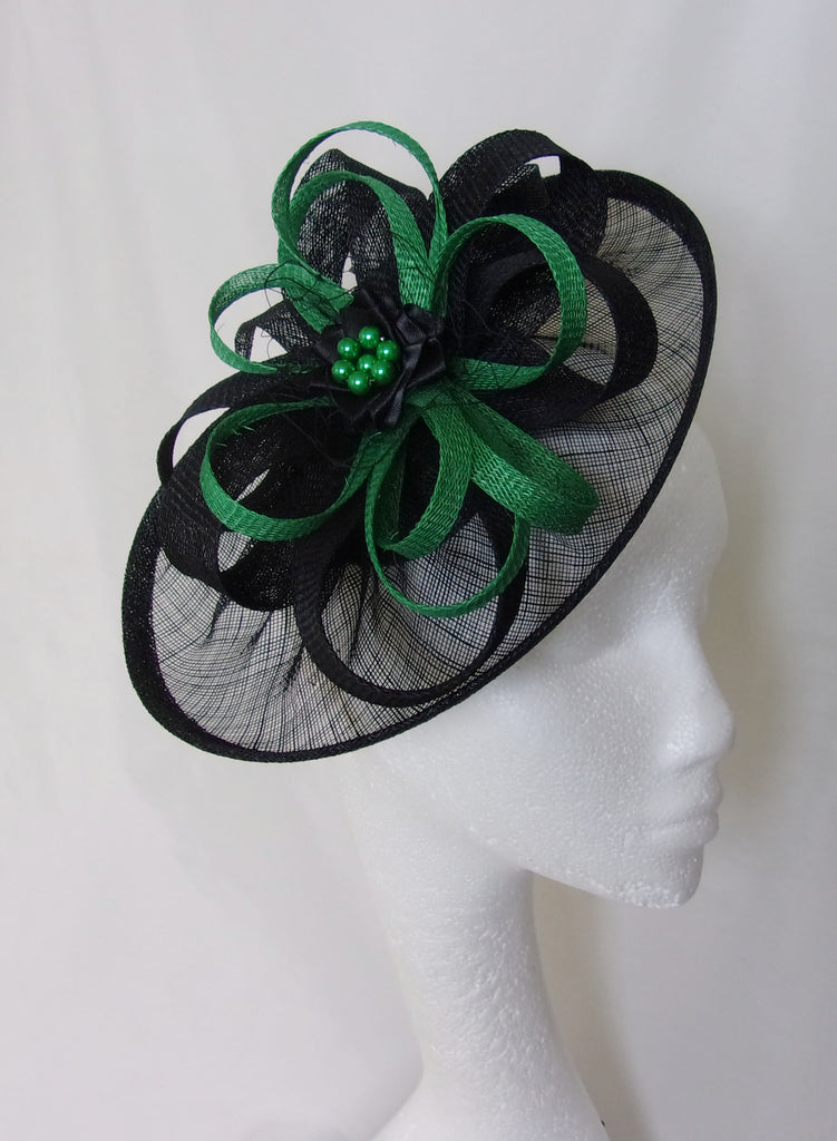 Black and Emerald Green Hat - Sinamay Loops & Pearls Saucer Fascinator Formal Wedding Derby Ascot - Made to Order