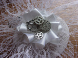 White Steampunk Bridal Hat Veiled Lace Vintage Style Fascinator with Cogs Gears - Wedding Bride - Made to Order silver