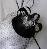 Black and Silver Butterfly Fascinator - Elegant Veil Curl Feather Sinamay Cocktail Hat - Wedding Races Made to Order