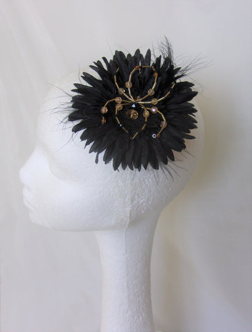 Black & Gold Beaded Spider Daisy Flower Hair Clip Accessory Wedding Hair Flowers - Gothic Halloween Wedding - Ready Made