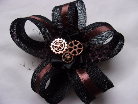 Chocolate Brown and Black Steampunk Fascinator - Sinamay Loops with Rose Gold Cogs or Pearls - Made to Order