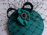 Teal and Black Cocktail Percher Hat Fascinator Netting Crystal Mini Headpiece - Wedding Vintage - Ready Made