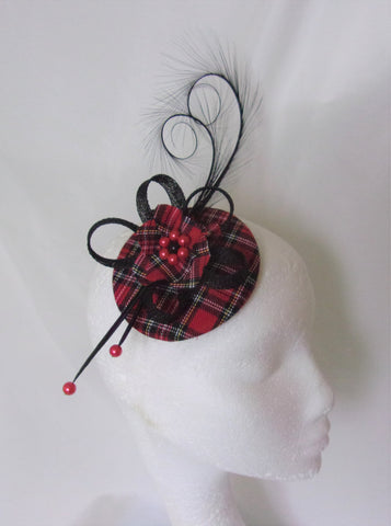 Red Stewart Tartan Fascinator Black Curl Feather and Sinamay Highlands Wedding Burns Night - Made to Order
