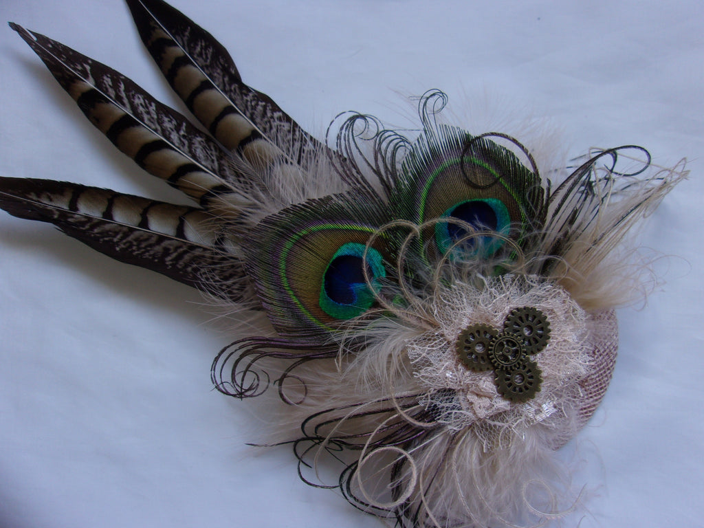 Shades of Brown and Natural Nude Rustic Country Steampunk Pheasant and Peacock Feather Minerva Fascinator Hair Clip with Cogs- Made to Order