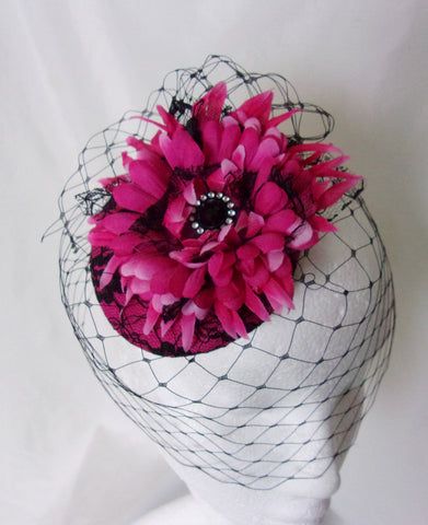 Cerise Fuchsia Pink and Black Vintage Retro Headpiece - Gerbera Daisy Flower Lace with Veil Fascinator - Wedding Derby - Made to Order