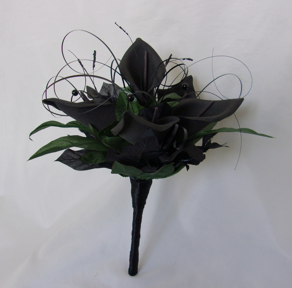 Black Calla Lily Bouquet - Natural Foliage Greenery Brides Bridal Wedding Gothic Posy - Ready Made