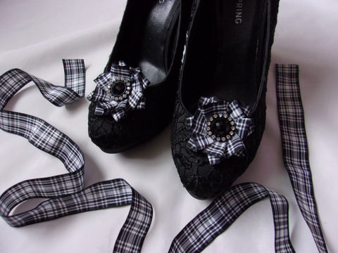 Small Round Ribbon Ruffle Shoe Clips with Black and White Menzies Tartan and Black Crystal Diamante Studs - Highlands Scottish Wedding Shoes