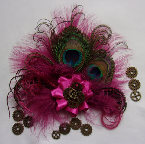 Small Shades of Raspberry Cerise Pink Peacock Feather & Brass Watch Cogs Steampunk Mini Fascinator Hair Clip- Made to Order
