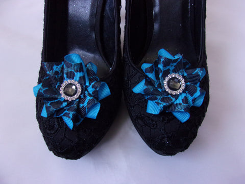 Turquoise and Black Leopard Print Shoe Clips