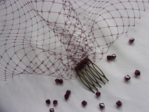 Burgundy Marsala Oxblood Short Russian Birdcage Blusher Face Bridal Wedding Veil - Burlesque - Made to Order