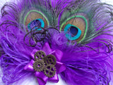 Shades of Cadbury Purple Peacock Feather Victoriana Wedding Fascinator Hair Clip With Brass Steampunk Cogs- Burlesque Style - Made to Order