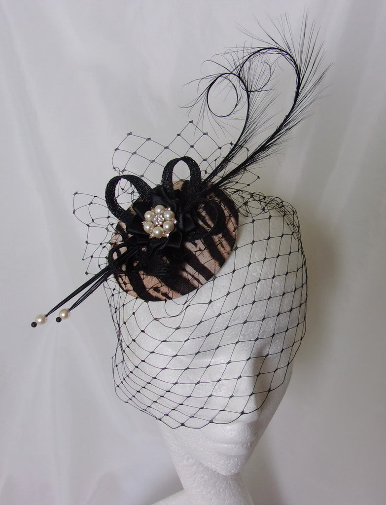 Tiger Stripe Fascinator - Safari Animal Print and Black Feather and Pearl Wedding Ascot Mini Hat - Ready Made