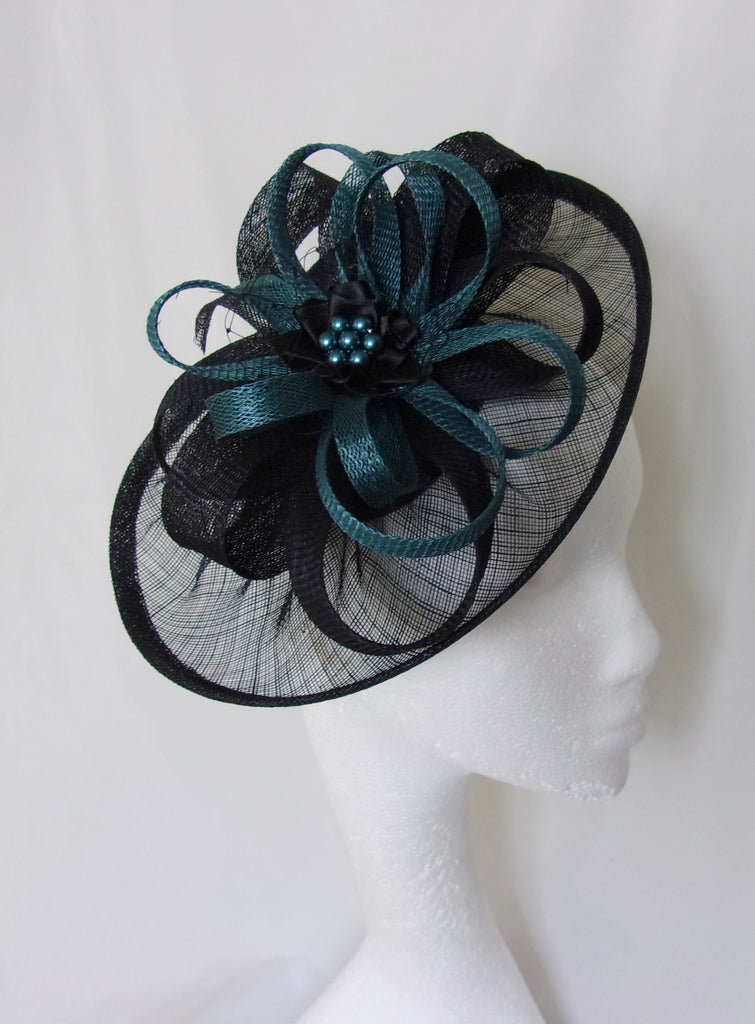 Black and Dark Teal Blue Hat - Sinamay Loops & Pearls Saucer Fascinator Formal Wedding Derby Ascot - Made to Order