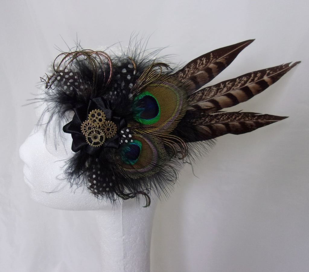 Black and Natural Brown Rustic Country Steampunk Pheasant and Peacock Feather Mini Minerva Fascinator Hair Clip with Cogs- Made to Order