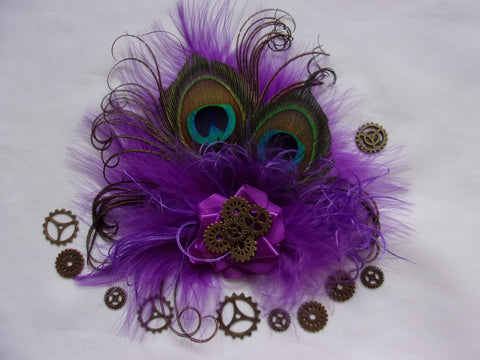 Light Purple Ultraviolet Peacock Feather & Brass Cogs Steampunk Style Mini Hair Clip Headpiece - Wedding Hatclip Burlesque - Made to Order