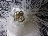 White Steampunk Bridal Hat Veiled Lace Vintage Style Fascinator with Cogs Gears - Wedding Bride - Made to Order