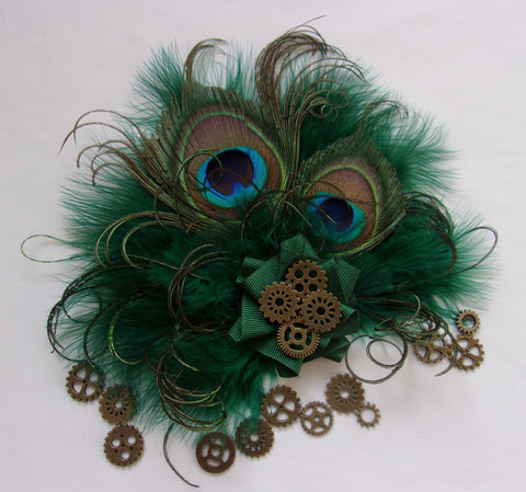 Small Dark Bottle Racing Hunter Green Peacock Feather and Brass Steampunk Watch Cogs Mini Fascinator Hair Clip Headpiece - Made to Order