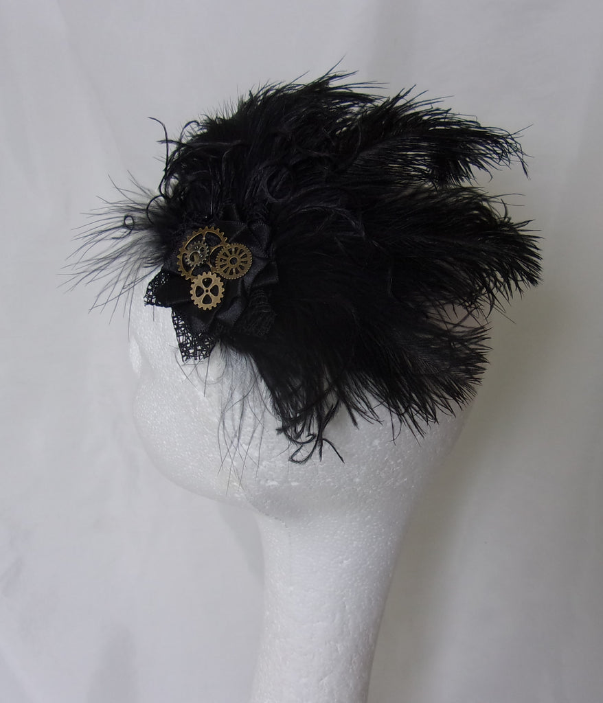 Black Steampunk Fascinator Ostrich Feathers and Brass Cogs Hair Clip Headpiece- Wedding Costume- Made to Order