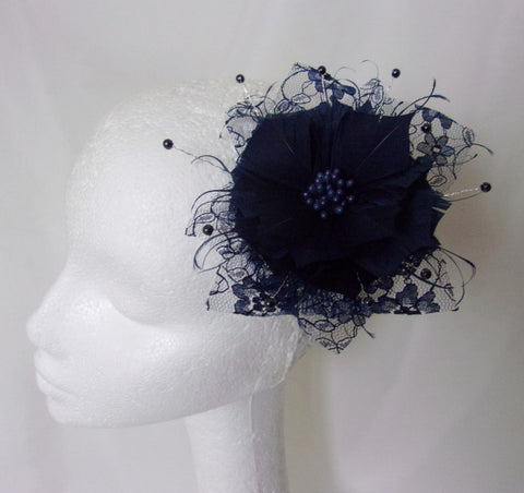 Navy Midnight Blue Feather Flower & Lace Fascinator Hair Comb Wedding Accessory