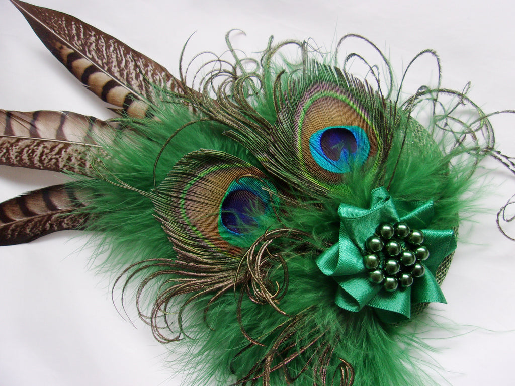 Dark Leaf Emerald Green Rustic Pheasant and Peacock Feather Steampunk Wedding Fascinator Percher Hat Headpiece - Made to Order