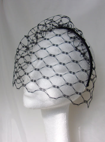 Black Short Birdcage Blusher Vintage Style Waffle Weave Veil on a Satin Headband- Wedding Victorian Goth Gothic - Ready Made