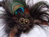 Steampunk Feather Brooch - Peacock Feather Buttonhole Corsage with Brass Cogs - Many Colours - Plain or Tartan - Wedding Bride Cosplay