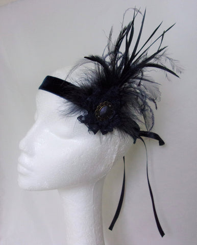 Navy Blue Feather Flapper Band Art Deco Vintage Charleston Downton Headband Fascinator - Wedding Party - Ready Made