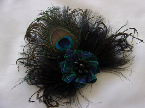 black peacock feather Black Watch tartan brooch corsage burns night