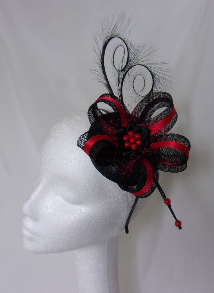 Scarlet Red and Black Isabel Curl Feather and Sinamay Fascinator -Ready Made