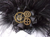 Black Steampunk Fascinator Ostrich Feathers and Brass Cogs Hair Clip Headpiece- Wedding Costume- Made to Order close up of cogs