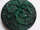 Emerald Bottle Green Crystal Spider Cobweb Cocktail Hat Fascinator Mini Headpiece - Gothic Halloween Wedding- Ready Made