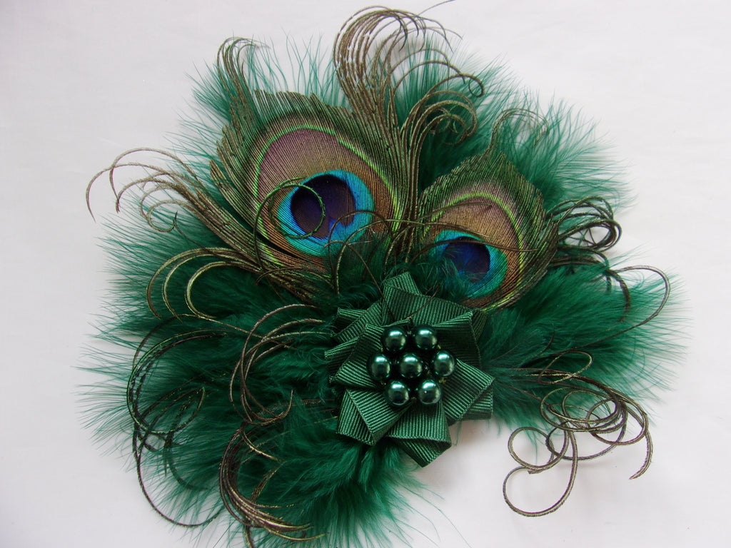 Small Dark Bottle Racing Hunter Green Peacock Feather and Pearl Vintage Mini Fascinator Hair Clip Headpiece - Made to Order