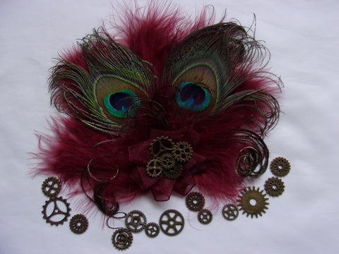 Dark Burgundy Marsala Wine Peacock Feather Steampunk Victoriana Mini Hair Clip Fascinator with Brass Watch Cogs - Made to Order