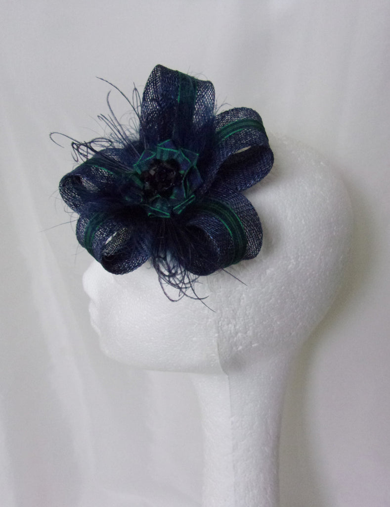 Navy Blue and Bottle Green Black Watch Tartan Rustic Pheasant Feather Fascinator Headpiece Clip Scottish Wedding Burns Night - Ready Made