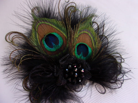 Black Small Peacock Feather Organza & Crystal Vintage Style Gothic Mini Fascinator Hair Clip