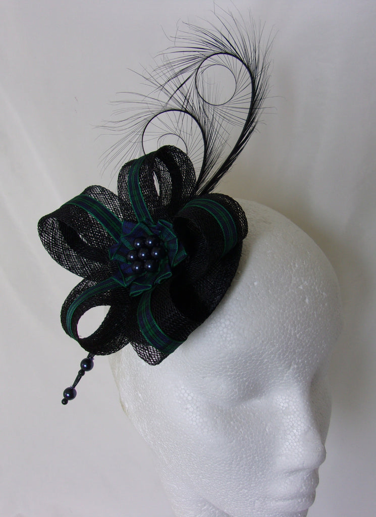 Black Watch Tartan Fascinator - Black Pheasant Curl Feather with Ribbon Stripe Scottish Highlands Wedding Burns Night Mini Hat - Made to Order