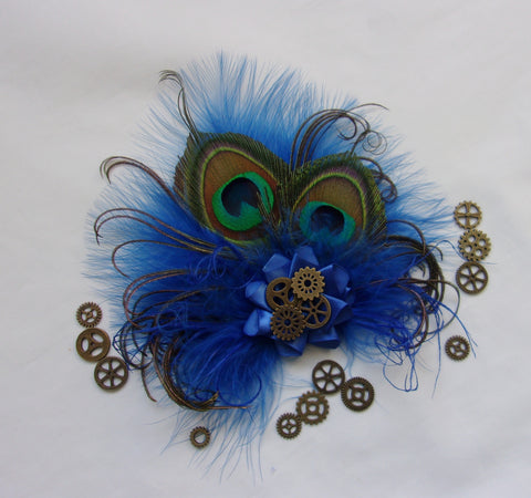 Royal Blue Steampunk Fascinator - Cobalt Sapphire Peacock Feather with Brass Cogs Mini Headpiece Hair Hat Clip - Made to Order