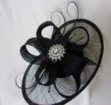 Black Rhinestone Hat Sinamay and Pheasant Curl Feather Saucer Fascinator with Crystal Diamante Brooch- Wedding Derby Gothic - Made to Order