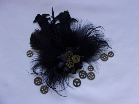 Black Steampunk Brooch Mixed Feather Satin Ruffle with Brass Cogs Corsage Buttonhole Boutonniere Hairclip Gothic Goth Victorian Wedding