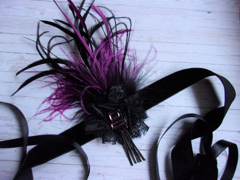 Amethyst and Black Vintage Art Deco Style Flapper Headband