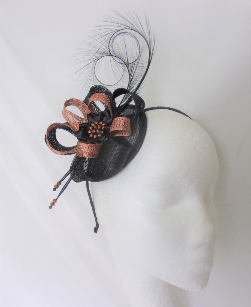 Copper & Black Delilah Pheasant Curl Feather & Sinamay Loop Fascinator Mini Hat - Gothic Diva Wedding Designs