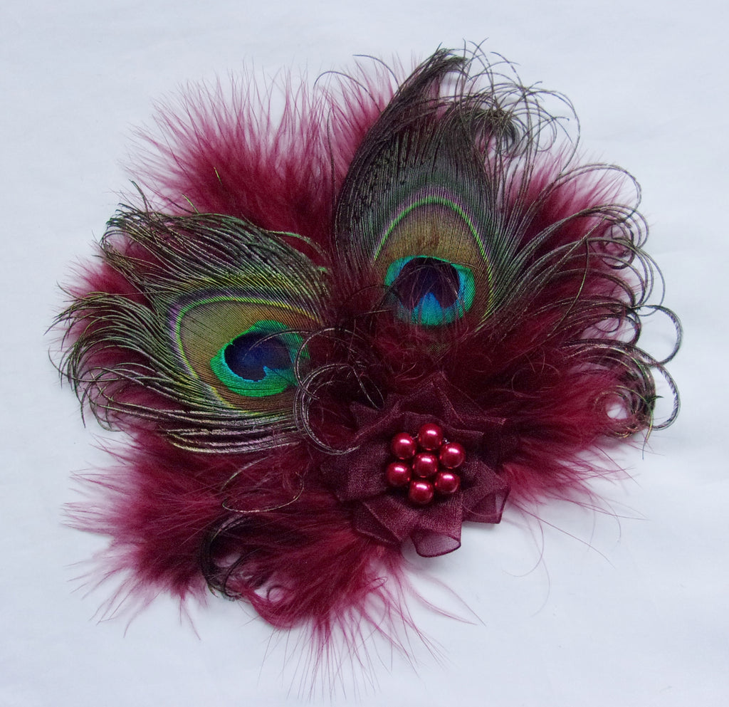 Dark Burgundy Marsala Wine Peacock Feather Organza and Pearl Victoriana Vintage Mini Hair Clip Fascinator - Made to Order