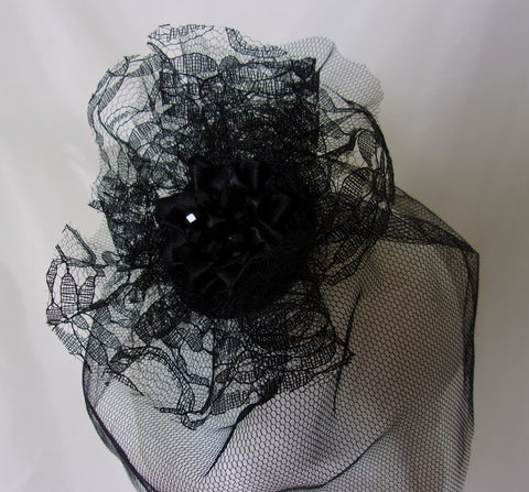 34132f0f651 ... Black Victorian Gothic Vintage Style Mini Veiled Percher Hat Fascinator  with Tulle Lace Ruffle and Crystals ...